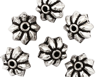 Antique Silver (plated) Pointy Flower Rondelle 12x16mm