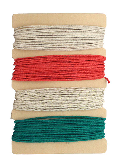 Sleigh Bells Hemp Twine 20 lb, 24 ft x 4 colors