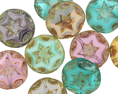 Czech Glass Beachside Mix Starflower Coin w/ Scalloped Edge 15mm
