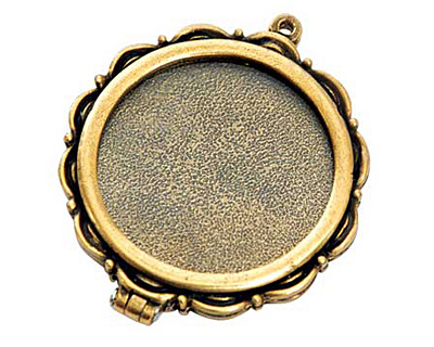 Nunn Design Antique Gold (plated) Large Scallop Locket 40mm