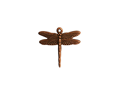 Stampt Antique Copper (plated) Dragonfly Charm 16x15.5mm