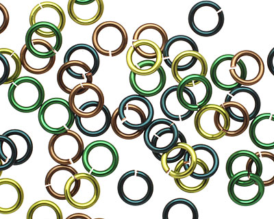 Camo Mix Enameled Copper Round Jump Ring 6mm, 18 gauge