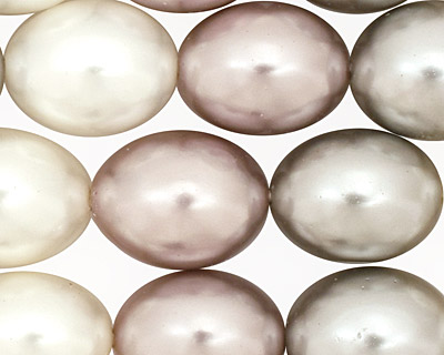 Multi (white, silver, silver rose) Shell Pearl Rice 15x11mm