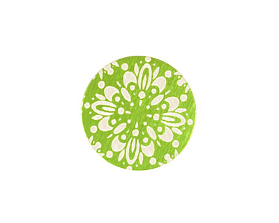 Lillypilly Lime Green Kaleidoscope Anodized Aluminum Disc 19mm, 24 gauge