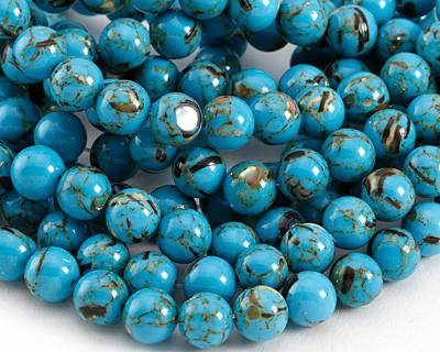 Turquoise Mosaic Shell Round 8mm