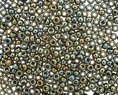 TOHO Metallic Iris Green/Brown Round 8/0 Seed Bead