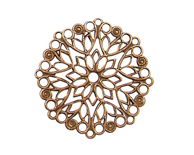 Stampt Antique Copper (plated) Poinsettia Filigree 28mm