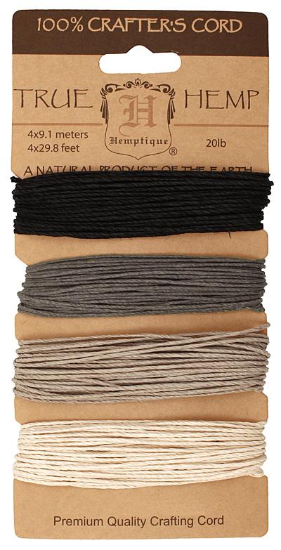 Shades of Onyx Hemp Twine 20 lb, 29.8 ft x 4 colors