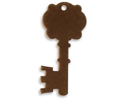 Vintaj Natural Brass Fancy Key Altered Blank 16x34mm