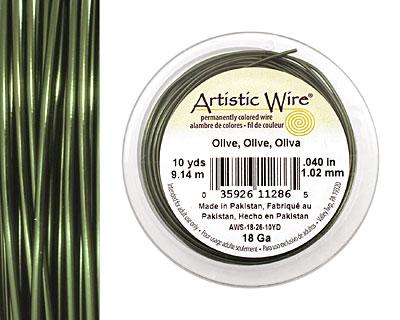Artistic Wire Olive 18 gauge, 10 yards