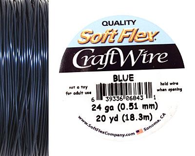 Soft Flex Blue Craft Wire 24 gauge, 20 yards