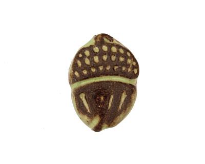 Gaea Ceramic Spring Green on Chocolate Acorn 23x17mm