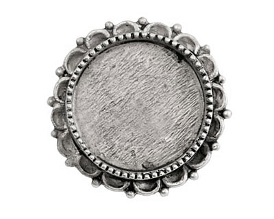 Nunn Design Antique Silver (plated) Large Ornate Circle Screw Back Bezel 30mm