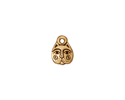 TierraCast Antique Gold (plated) Kittyface Charm 8x10mm