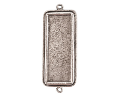 Nunn Design Antique Silver (plated) Traditional Rectangle Bezel Pendant Link 48x18mm