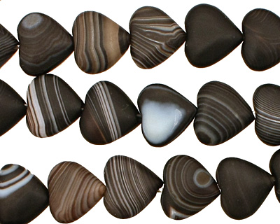 Black Sardonyx (matte) Heart 9x10mm