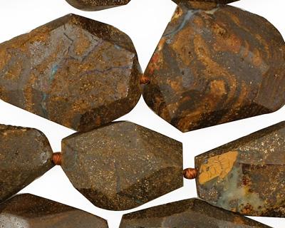 Boulder Opal Faceted Flat Slab 20-30x11-19mm