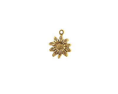 Stampt Antique Gold (plated) Tiny Sunflower Charm 9x12mm