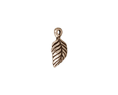 TierraCast Antique Silver (plated) Birch Leaf Charm 7x15mm