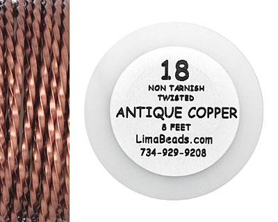 Parawire Antique Copper Twisted 18 Gauge, 8 Feet