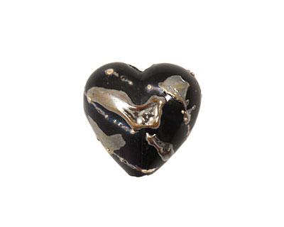 Grace Lampwork Elegant Black Metallic Heart 19-20mm