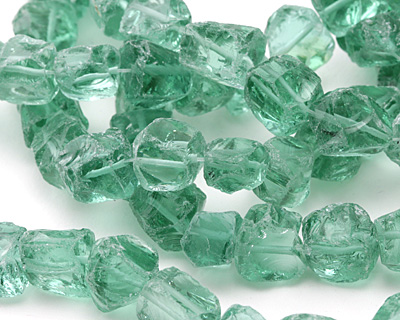 Bottle Green Recycled Glass Nugget 7-14x9-14mm