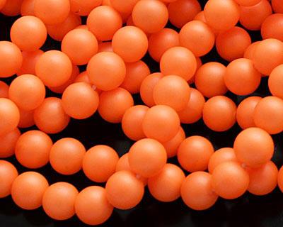 Neon Orange Shell Pearl Round 6mm