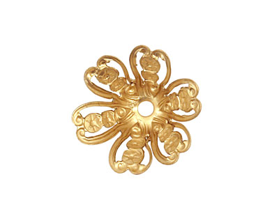 Brass Medallion Flower Bead Cap 10x20mm