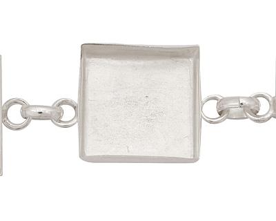 Silver (plated) Square Bezel Link Bracelet 19mm
