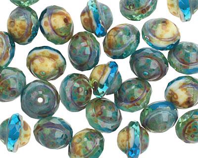 Czech Glass Capri w/ Sunshine Picasso UFO 7x9mm