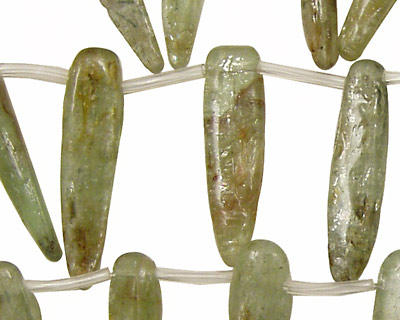 Green Kyanite Spear Drops (small with brown) 5-9x24-40mm