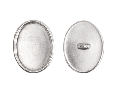 Nunn Design Antique Silver (plated) Large Oval Frame Button 16x20mm