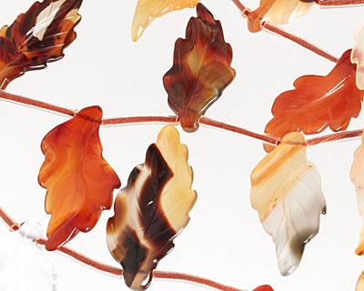 Carnelian (natural) Carved Ridged Leaf 15-17x30-35mm