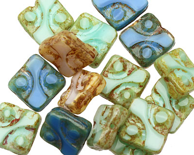 Czech Glass Summer Cottage Dotted Square 10mm