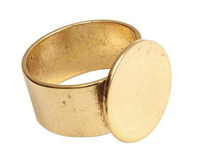 Nunn Design Antique Gold (plated) Large Circle Adjustable Ring 16mm
