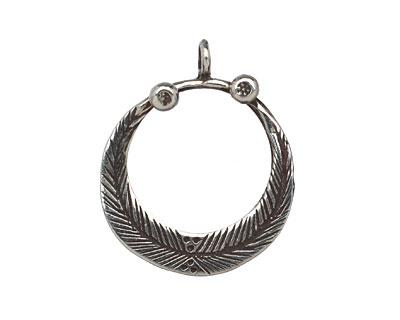 Saki White Bronze Feathered Loop Pendant 23x27mm
