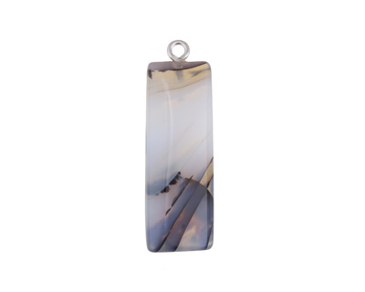 Natural Agate Rectangle Pendant 12x32-36mm