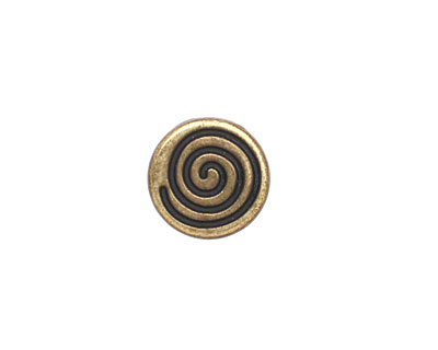 Antique Brass (plated) Circle Coil 10mm Cord Slide 18mm