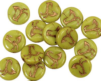 Czech Glass Chartreuse Coin w/ Bird 11mm