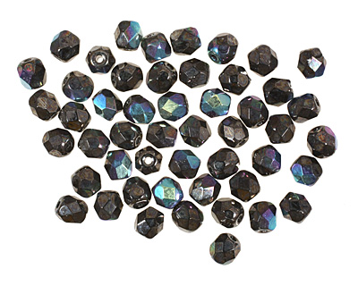 Czech Fire Polished Glass Hematite AB Round 4mm