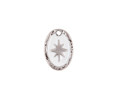 Zola Elements White Enamel Antique Silver (plated) Starburst Oval Focal 11x15mm