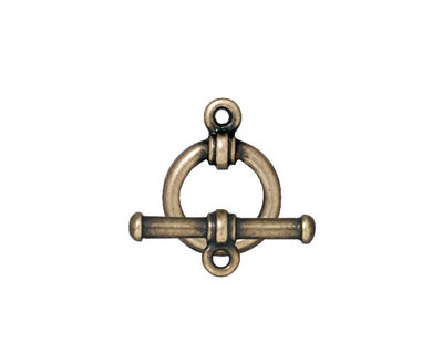 TierraCast Antique Brass (plated) Bar & Ring Toggle Clasp 16x12, 19mm bar