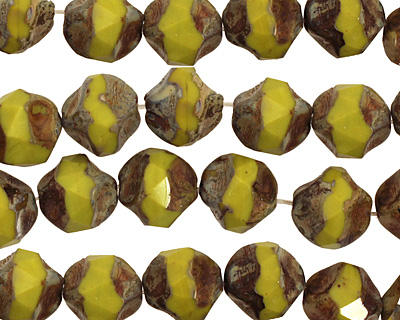 Czech Glass Lemon Picasso Chandelier Cut 8mm