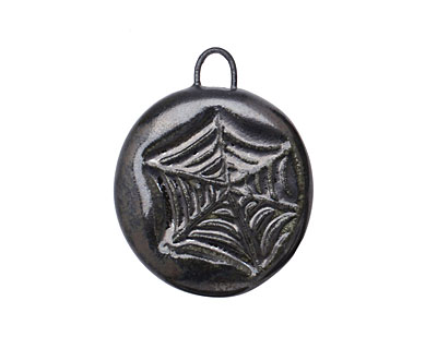 Gaea Ceramic Black Pearl Web Pendant 23-25x27-30mm