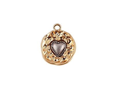 Matte Gold Finish Captured Heart Charm 14x16mm