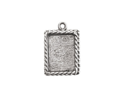 Nunn Design Antique Silver (plated) Mini Ornate Rectangle Bezel Pendant 14x21mm