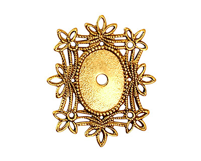 Stampt Antique Gold (plated) Floral Filigree Oval Setting 10x14mm