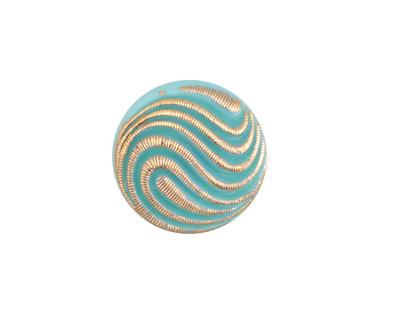 Czech Glass Turquoise w/ Gold Swirl Button 18mm