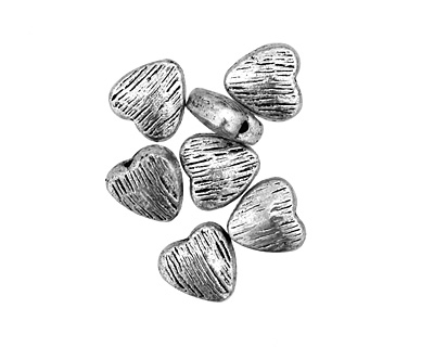 Pewter Textured Heart 8mm