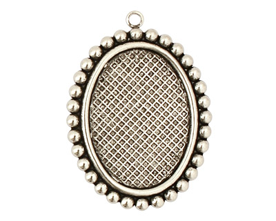 Stampt Antique Pewter (plated) Dotted Fringe Oval Setting 18x25mm